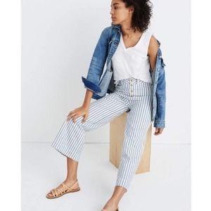 Madewell Emmett Wide Leg Stripe Crop Pants